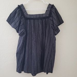 Maternity Striped Short Sleeve Square Neck Top XL
